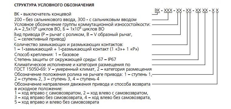 Структурное обозначения ВК-200 ВК-300  расшифровка обозначения ВК-300