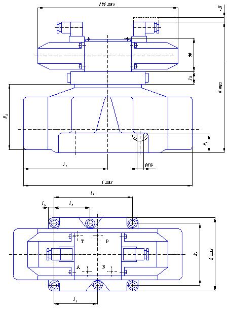 Габаритные и присоединительные размеры гидрораспределителей с электрогидравлическим управлнием 2Р203