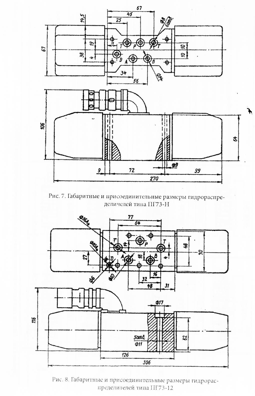 Габаритные и присоединительные размеры гидрораспределителей ПГ73-11 ПГ73-12 БПГ73-11 БПГ73-12