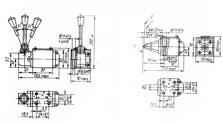 Габаритные и присоединительные размеры гидрораспределителя  с ручным и механическим  управлением 1РЕ10