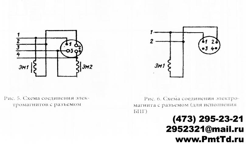 Схемы соединения электромагнитов с разъемом ПГ73-11 ПГ 73-12