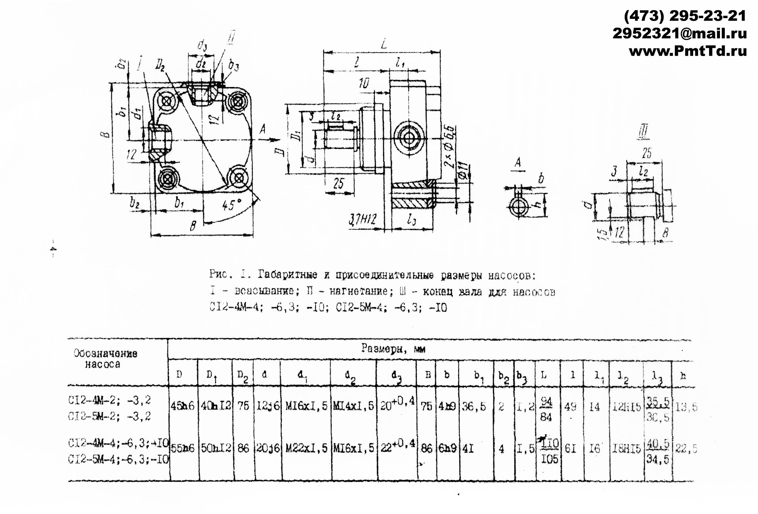 Габаритные и присоеденительные размеры насосв С12-4М-4  С12-4М-6,3 С12-4М-10 С12-5М-4  С12-5М-6,3 С12-5М-10