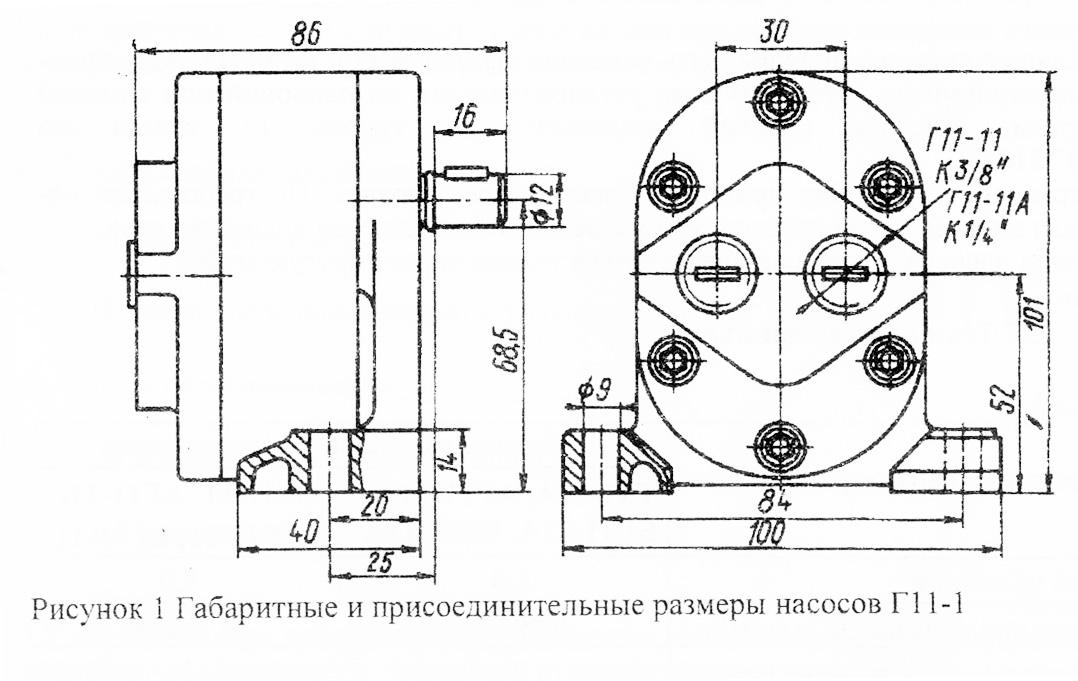 Основные габаритные и присоединительные размеры насосов  и агрегатов  Г11-11     Г11-11А