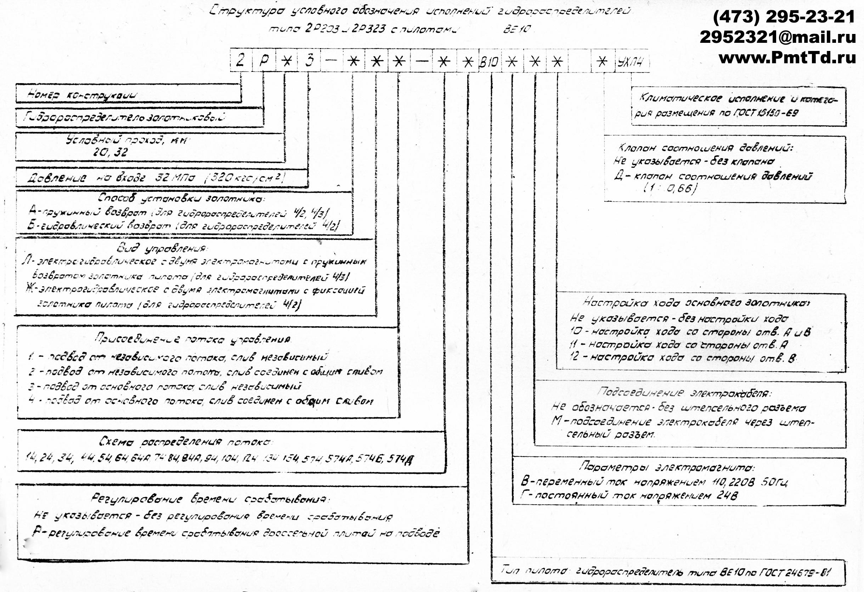 Структура условного обозначения гидрораспределителей типа 2Р202, 2Р203 2Р322, 2Р323 2Рн203, 2Рн323