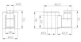 Габаритные и присоединительные размеры э/магнита (для FW-02)