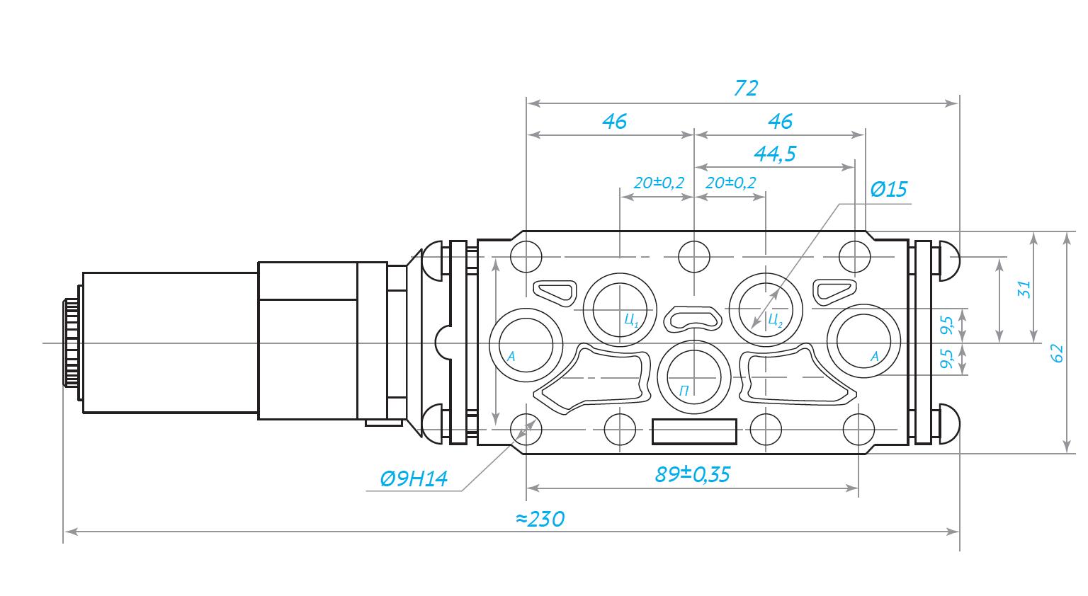 Габаритные и присоеденительные размеры клапана КЭП 16-1 24В 110В 220В