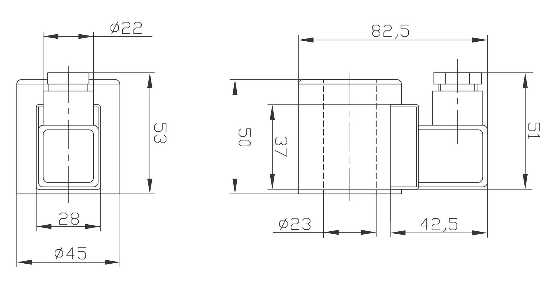 Габаритный и присоединительные размеры электромагнитов (катушек) MFZ10(MFZ12)-37YC DC24(DC12), MFB10(MFZ12)-37YC AC220(AC110) Совместимых с Гидрораспределителями ВЕ6, WE6, FW-02