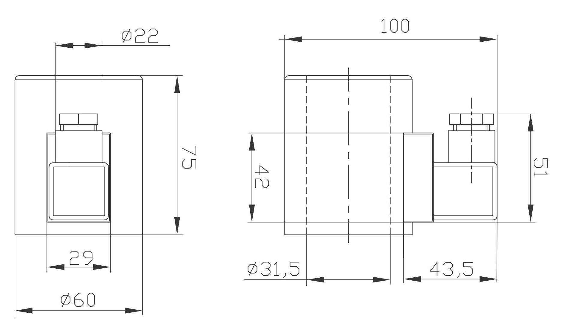 Габаритный и присоединительные размеры электромагнитов (катушек) MFZ10(MFZ12)-90YC DC24(DC12), MFB10(MFZ12)-90YC AC220(AC110) Совместимых с Гидрораспределителями ВЕ10, WE10, FW-03