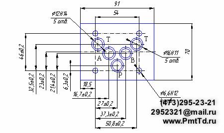 Присоединительные -Габаритные размеры гидрораспределителей FW-03