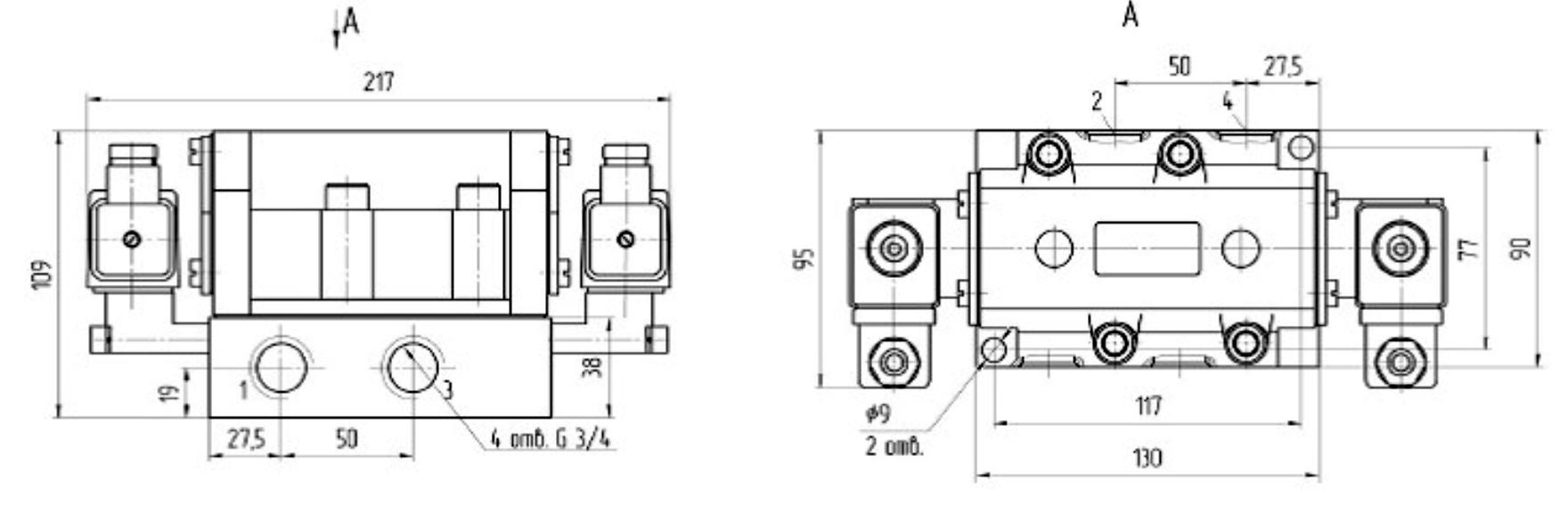 Присоединительные и габаритные размеры пневмораспределителя В64-15А-03(управление распределителем электромагнитное )